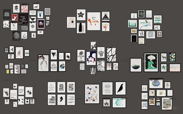 现代简约抽象类装饰组合画3D模型【ID:17048605】