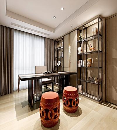 新中式书房装饰架鼓凳组合3D模型【ID:17049975】