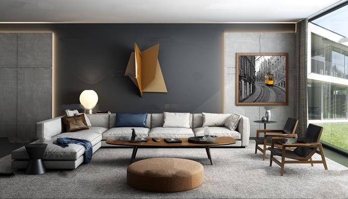 北欧转角沙发茶几单椅组合3D模型【ID:17050508】