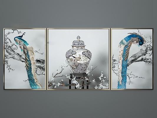 新中式雀上枝头装饰画组合3D模型【ID:17050703】