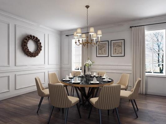 简欧餐厅圆形餐桌椅餐具吊灯组合3D模型【ID:17051484】