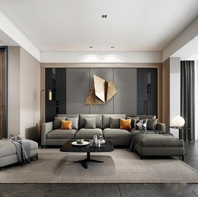 现代沙发茶几餐桌椅组合3D模型【ID:17052000】