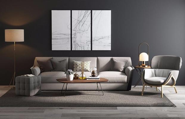 现代沙发组合3D模型【ID:17054528】