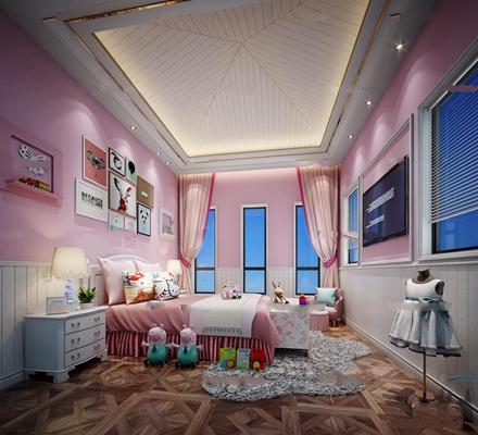 简欧女孩房卧室3D模型【ID:17055223】