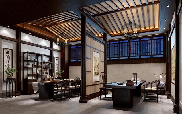 新中式茶室书房3D模型【ID:17056470】