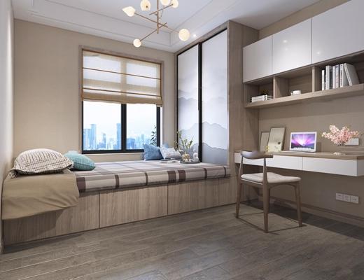 现代榻榻米卧室书房3D模型