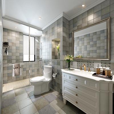 欧式卫浴空间3D模型【ID:17058268】