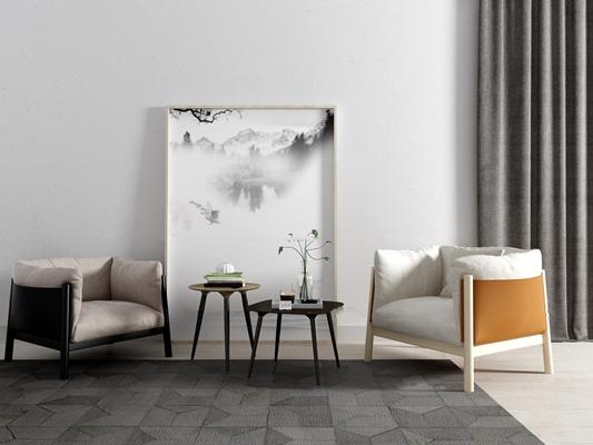 现代休闲沙发装饰画组合3D模型【ID:17061229】