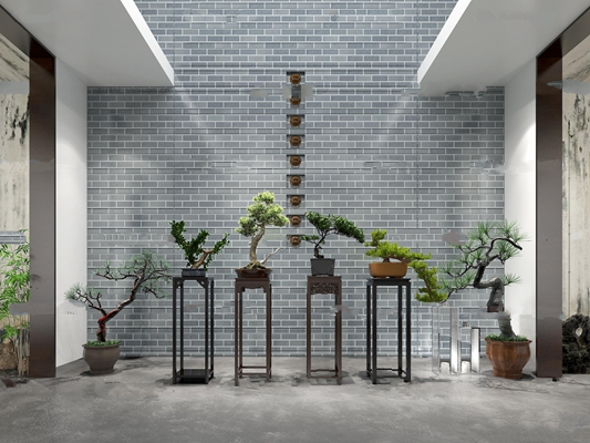 中式花台盆景盆树组合3D模型【ID:17061238】