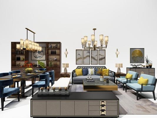 新中式布艺沙发茶几餐桌椅装饰柜吊灯组合3D模型【ID:17064107】