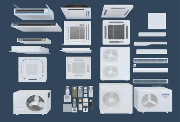 现代空调出风口中央空调主机3D模型【ID:17067440】