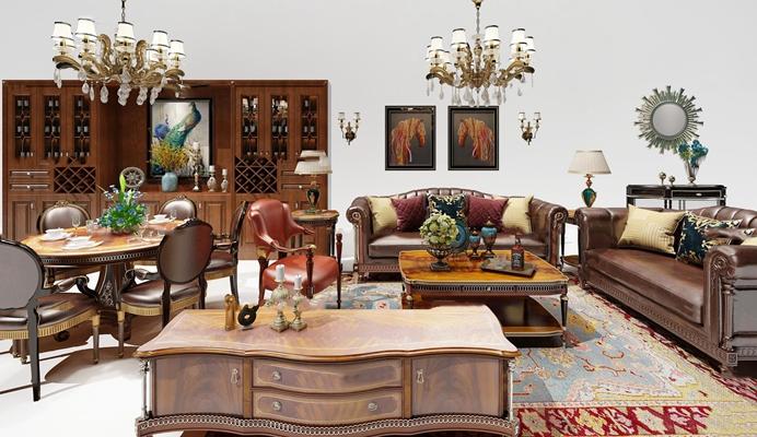 欧式皮革沙发茶几餐桌椅酒柜吊灯组合3d模型【id:17068105】