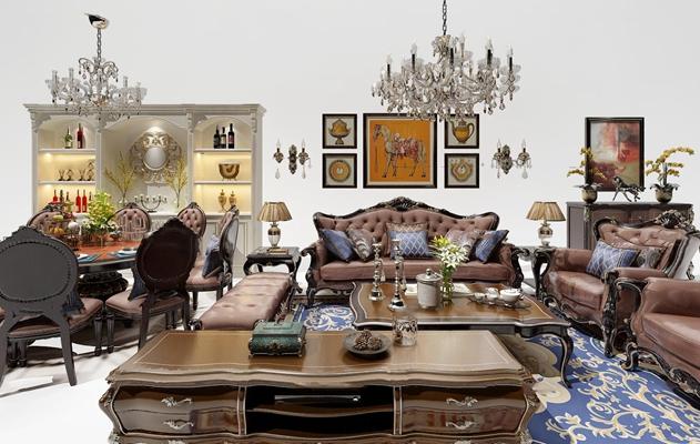 欧式沙发组合3d模型【ID:17068603】