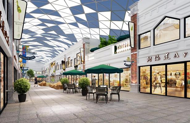 现代商业街建筑外观3D模型【ID:17068842】