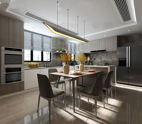 现代厨房餐厅3D模型【ID:17070281】