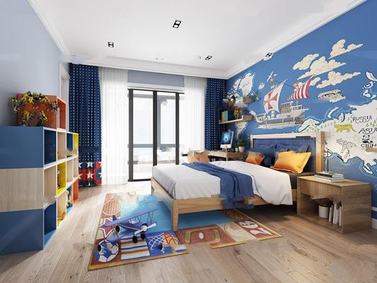 北欧儿童房男孩卧室3D模型【ID:17072225】