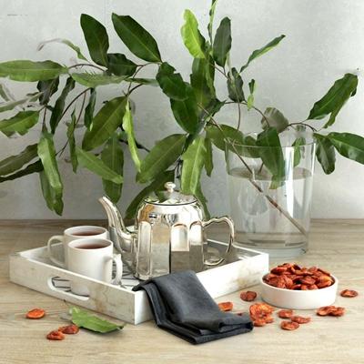 现代茶具玻璃花瓶组合3D模型【ID:17075606】