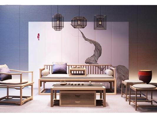 新中式实木沙发休闲椅茶几吊灯屏风组合3D模型【ID:17076300】