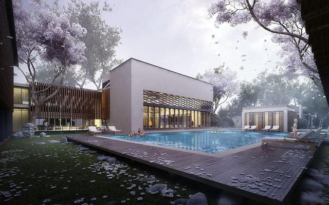 现代酒店泳池建筑外观3D模型【ID:17076941】