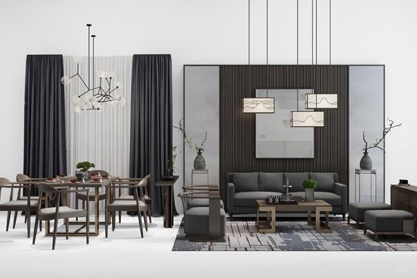 新中式客厅沙发餐桌椅组合3D模型【ID:17078106】