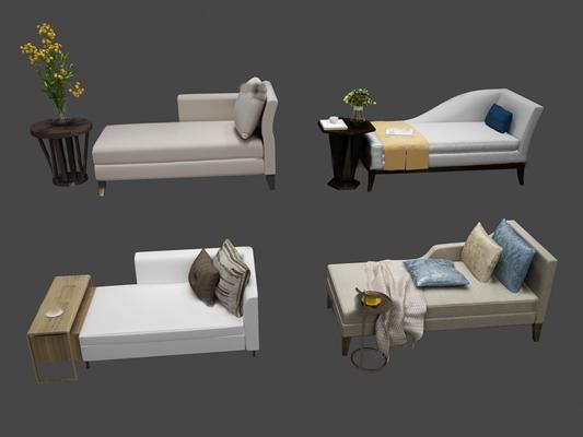 现代布艺贵妃椅边几组合3D模型【ID:17081138】