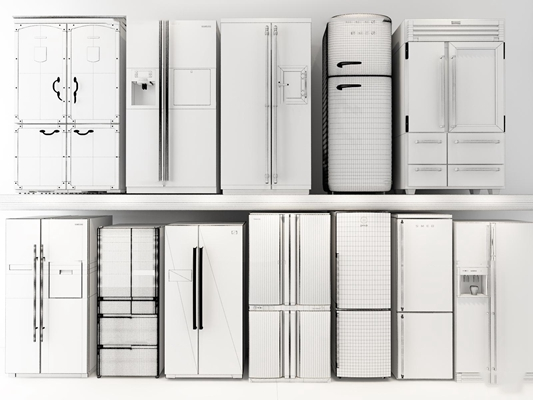 現代雙開門冰箱冰柜組合3D模型【ID:17082025】