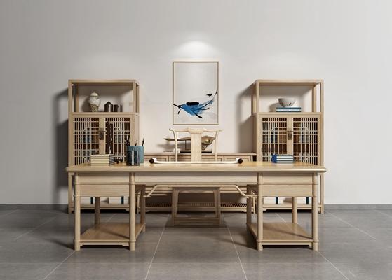 新中式书桌装饰柜组合3D模型【ID:17082191】