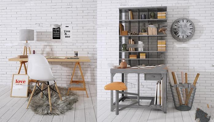 北欧书桌组合3d模型【ID:17082791】
