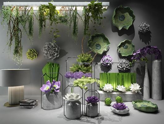 新中式莲花荷叶花瓶墙饰绿植吊篮3D模型【ID:17143814】