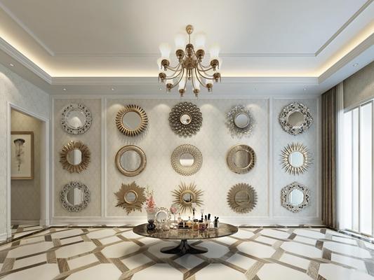 欧式装饰镜展示墙圆几摆件组合3D模型【ID:17143817】