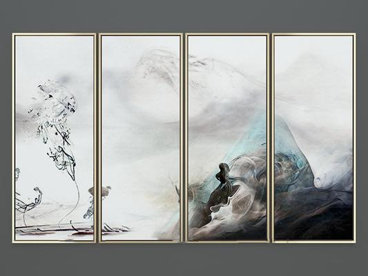 新中式形神意抽象装饰画3D模型【ID:17145706】