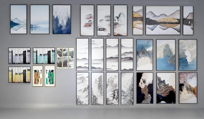 新中式山水裝飾畫組合3D模型【ID:17145801】