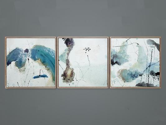 新中式抽象手绘荷花装饰画组合3D模型【ID:119741785】