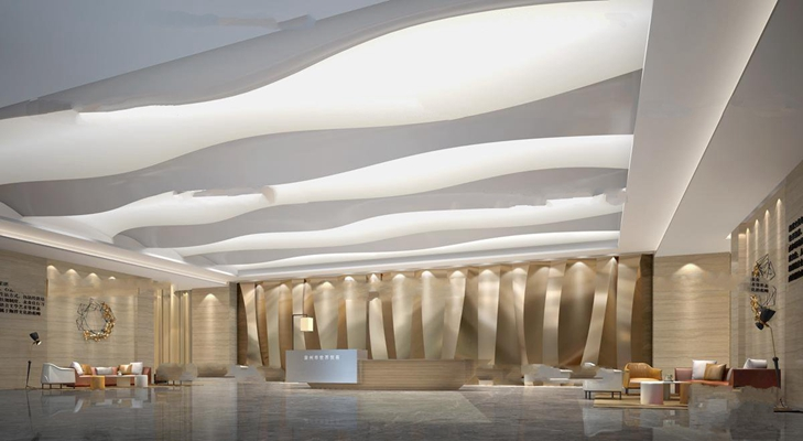 现代商务大堂接待区过道走廊组合3D模型【ID:17156980】