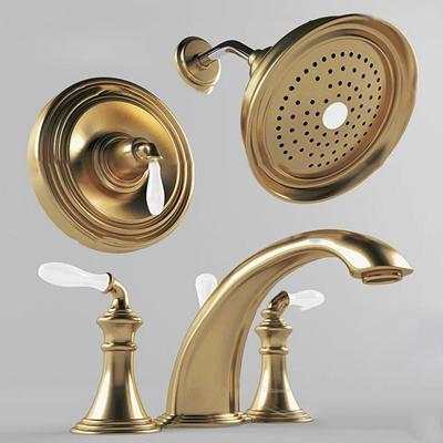 欧式铜质花洒水龙头组合3d模型【ID:17165673】
