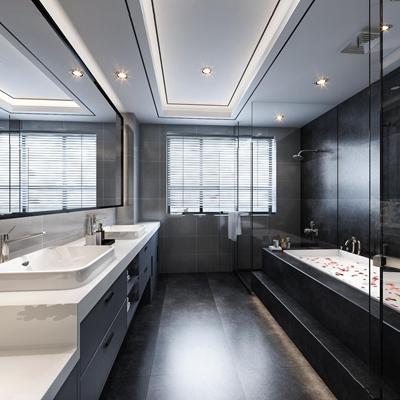 现代浴室卫生间3D模型【ID:17166166】