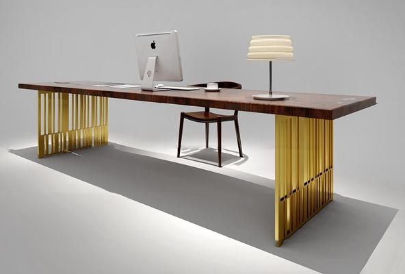 现代书桌椅台灯组合3D模型【ID:119705970】