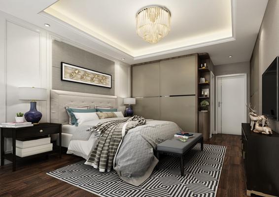 现代卧室3D模型【ID:419705388】