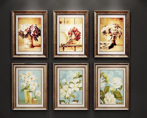 欧式花艺花瓶挂画组合3D模型【ID:17169808】
