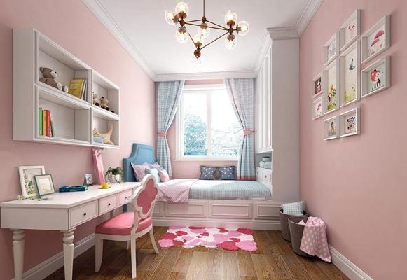 欧式女孩卧室儿童房3D模型【ID:17170528】