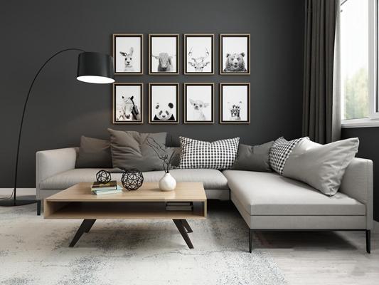 现代多人沙发茶几组合3D模型【ID:17170704】