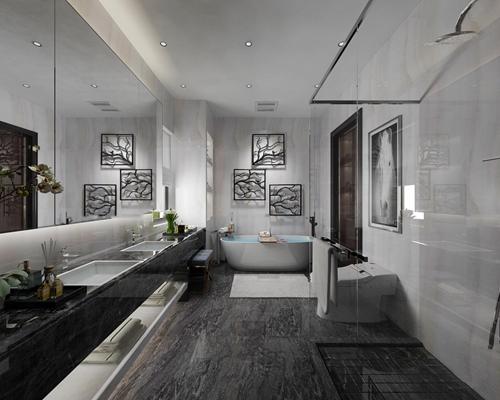 现代浴室卫生间3D模型【ID:17170965】