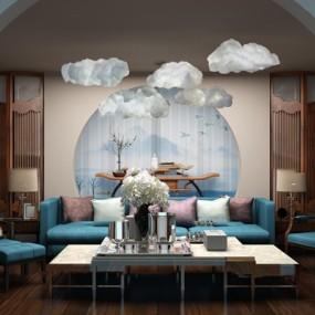 新中式布艺沙发茶几云朵吊灯组合3D模型【ID:17172504】