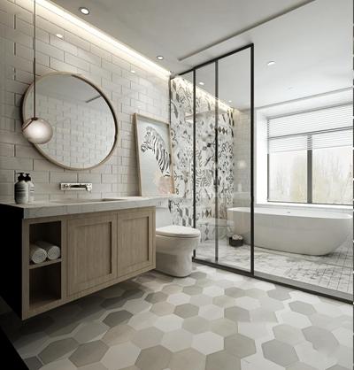 现代浴室卫生间3D模型【ID:17175560】
