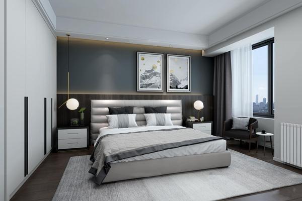 现代卧室3d模型【ID:17176531】