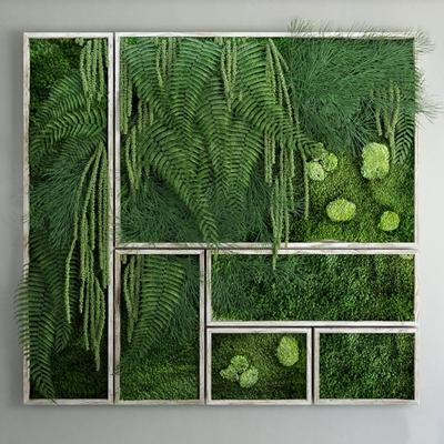 现代绿植装饰墙3D模型【ID:17178315】