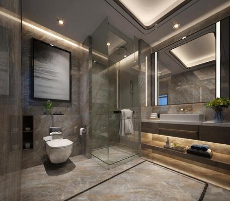 现代浴室卫生间3D模型【ID:519706416】
