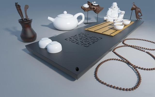 新中式禅意茶具组合3d模型【ID:17179800】