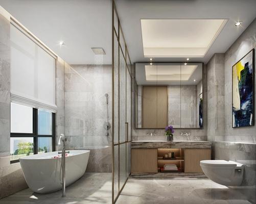 现代浴室卫生间3d模型【ID:17180562】