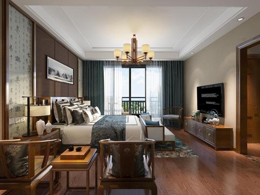 中式卧室3D模型【ID:419707318】